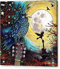 The Raven Acrylic Print by Julie Oakes