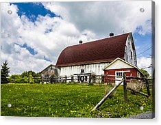 Acrylic Print featuring the photograph The Red And White Barn by Paula Porterfield-Izzo
