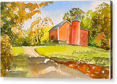 The Red Barn Acrylic Print by Harding Bush