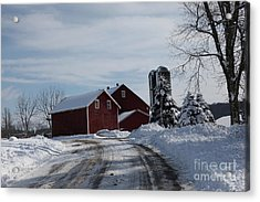 The Red Barn In The Snow Acrylic Print