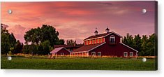 Acrylic Print featuring the photograph The Red Barn - Panoramic by TL Mair