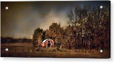 The Red Barn Welcomes Autumn Acrylic Print by Jai Johnson