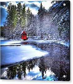 The Red Boathouse On Beaver Brook 2 Acrylic Print by David Patterson