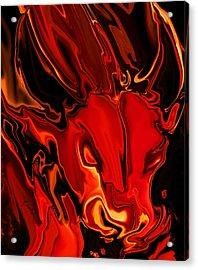 Acrylic Print featuring the digital art The Red Bull by Rabi Khan