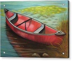 The Red Canoe Acrylic Print by Marcia  Hero