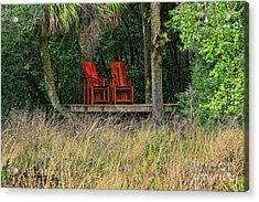 Acrylic Print featuring the photograph The Red Chairs by Deborah Benoit