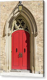 The Red Church Door. Acrylic Print