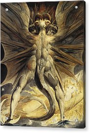 The Red Dragon And The Woman Clothed In Sun Acrylic Print by William Blake