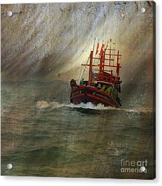 Acrylic Print featuring the photograph The Red Fishing Boat by LemonArt Photography
