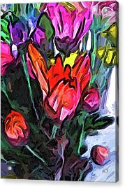 The Red Flower And The Rainbow Flowers Acrylic Print