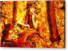 The Red Forest Lady - Da Acrylic Print by Leonardo Digenio