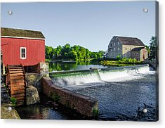 The Red Mill  On The Raritan River - Clinton New Jersey  Acrylic Print by Bill Cannon