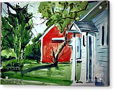 Acrylic Print featuring the painting The Red Oxide Barn Matted by Charlie Spear