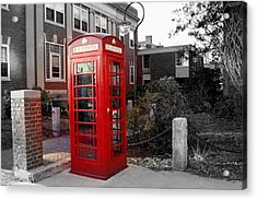 The Red Phonebooth Acrylic Print by Lois Lepisto