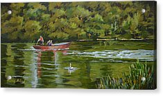 Acrylic Print featuring the painting The Red Punt by Murray McLeod