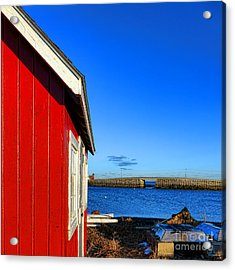 The Red Shack And The Cribstone Bridge Acrylic Print