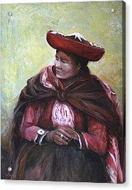 The Red Shawl  Acrylic Print by Jun Jamosmos