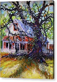 Acrylic Print featuring the painting The Red Store by Gertrude Palmer