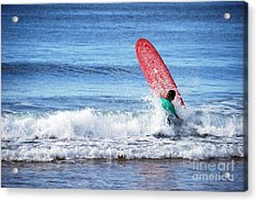 The Red Surfboard Acrylic Print by Joe Scoppa