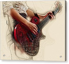 The Red Tour Guitar Acrylic Print