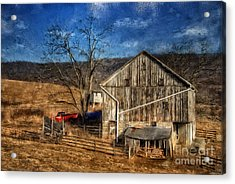 The Red Truck By The Barn Acrylic Print by Lois Bryan