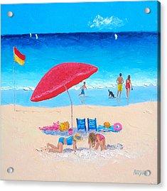 The Red Umbrella Beach Painting Acrylic Print
