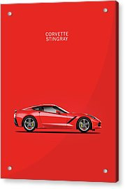 The Red Vette Acrylic Print by Mark Rogan
