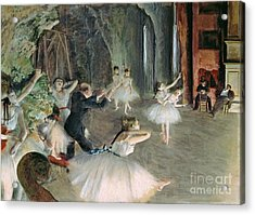 The Rehearsal Of The Ballet On Stage Acrylic Print