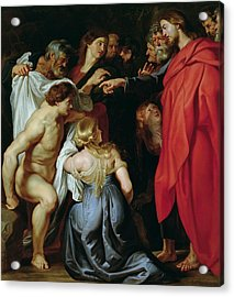 The Resurrection Of Lazarus Acrylic Print by Rubens