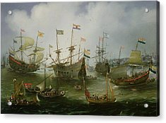 The Return To Amsterdam Of The Second Expedition To The East Indies Acrylic Print by Andries van Eertvelt