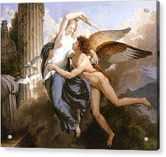 The Reunion Of Cupid And Psyche Acrylic Print by Jean Pierre Saint-Ours
