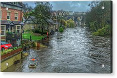 The River Nidd In Flood At Knaresborough Acrylic Print by RKAB Works