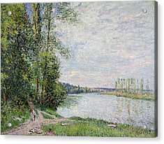 The Riverside Road From Veneux To Thomery Acrylic Print by Alfred Sisley
