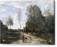 The Road Acrylic Print by Jean Baptiste Camille Corot