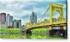 Acrylic Print featuring the digital art The Roberto Clemente Bridge In Pittsburgh by Digital Photographic Arts