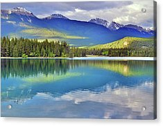 Acrylic Print featuring the photograph The Rockies Reflected In Lake Annette by Tara Turner