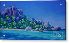 The Rocks On La Digue  Panoramic Acrylic Print by John Clark