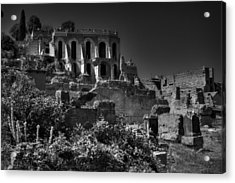 Acrylic Print featuring the photograph The Roman Forum 001 Bw by Lance Vaughn