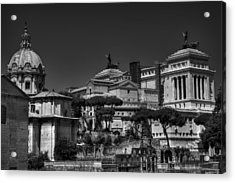 Acrylic Print featuring the photograph The Roman Forum 002 Bw by Lance Vaughn