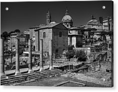 Acrylic Print featuring the photograph The Roman Forum 003 Bw by Lance Vaughn