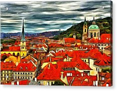 The Rooftops Of Prague  Acrylic Print by Jean-Marc Lacombe