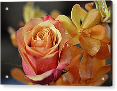 Acrylic Print featuring the photograph The Rose And The Orchid by Diana Mary Sharpton