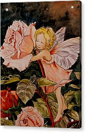 The Rose Fairy After Cicely Mary Barker Acrylic Print by Betty-Anne McDonald