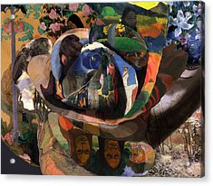 Acrylic Print featuring the digital art The Rose Of Gauguin by David Bridburg