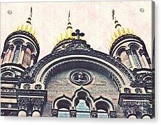 The Russian Church In Wiesbaden Acrylic Print by Sarah Loft