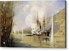 The Russian Destroyer Shutka Attacking A Turkish Ship On The 16th June 1877 Acrylic Print by Aleksei Petrovich Bogolyubov