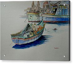 Acrylic Print featuring the painting The San George by Ray Agius