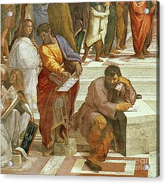 The School Of Athens, Detail Of The Figures On The Left Hand Side Acrylic Print by Raphael