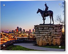 The Scout Overlooking The Kansas City Skyline Acrylic Print