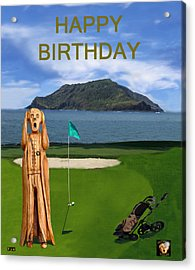 The Scream World Tour Golf  Happy Birthday Acrylic Print by Eric Kempson